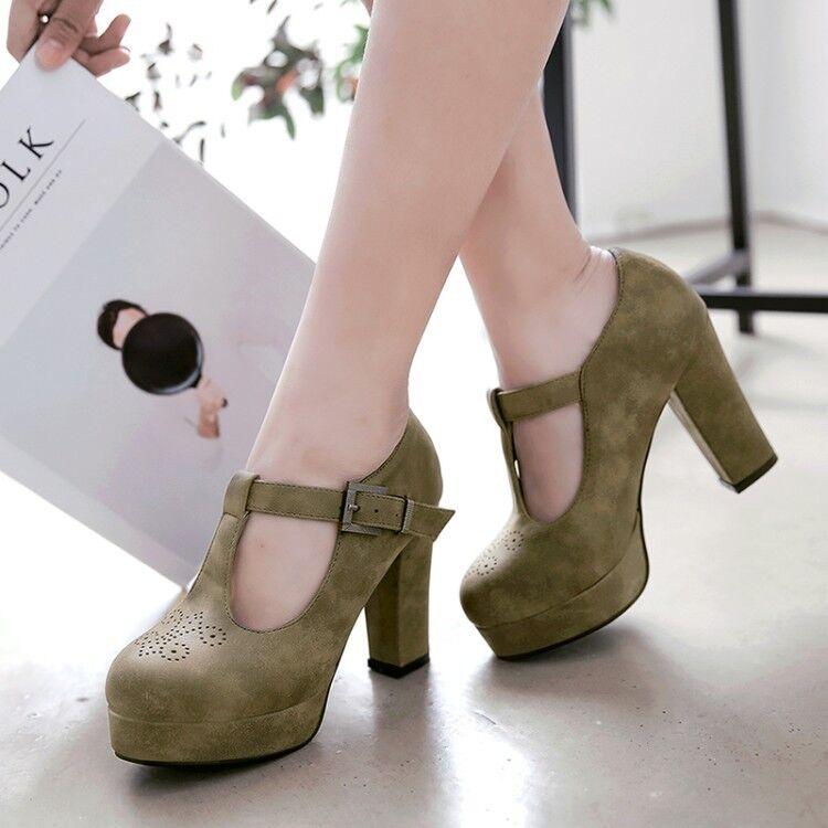 Women's Solid color T-strap Buckle Block High Heels Round Toe Platform shoes