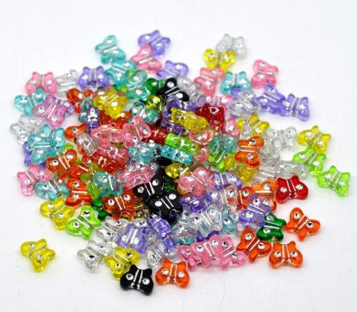 Lot 10-30 pieces Perle Papillon 11x9mm Couleur mixte pour creation bijoux