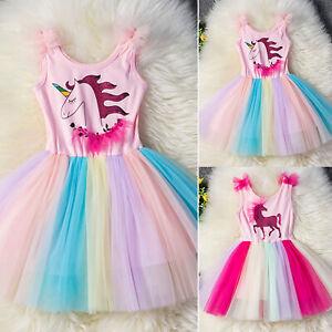 dc842c73e172 Unicorn Girls Dress Kid Gift Cute Party Holiday Fancy Tutu Tulle ...
