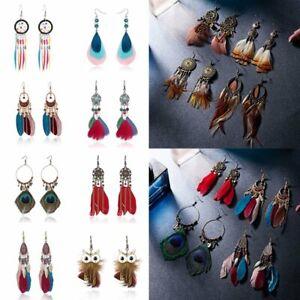 16f39fcc5dd3e Fashion Bohemia Earrings Long Tassel Fringe Boho Feather Dangle ...