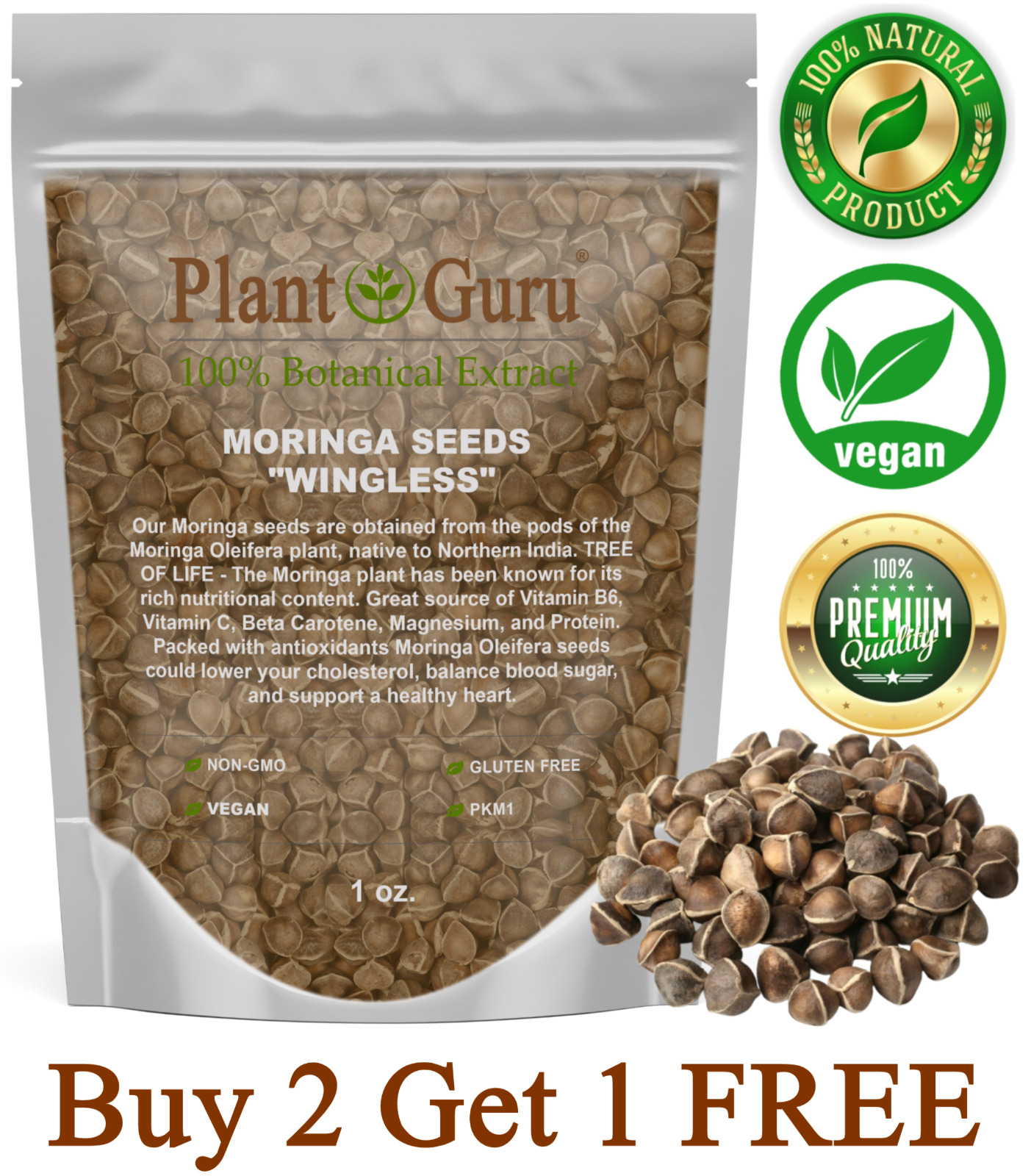 100 Moringa Oleifera Seeds 1 oz. WINGLESS Fresh Organic Semillas de Moringa Tree
