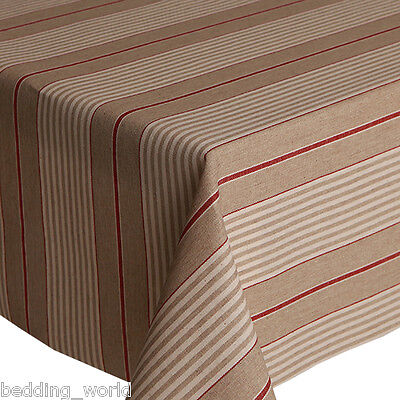 Acrylic Coated Table Cloth Harbour Red Stripe French Ticking Linen Wipe Able Ebay