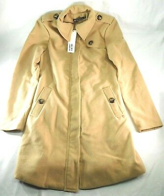 Allegra K Womens Notched Lapel One Button Trench Coat