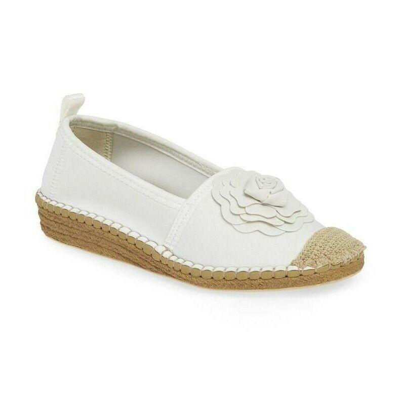 Taryn Rose Women Quincy Neoprene Flower Espadrille Wedges Comfort Shoes White 5M