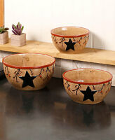 Star & Berry Mixing Bowls - Set Of 3 Country Rustic Baking Serving Kitchen Decor