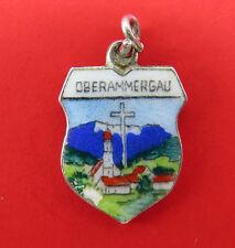 Vintage 800 Silver Bracelet Charm Enamel Shield Oberammergau Germany Travel 642g