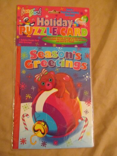 Brand New Vintage Lisa Frank Holiday Puzzle Card with Envelope (Christmas) P374