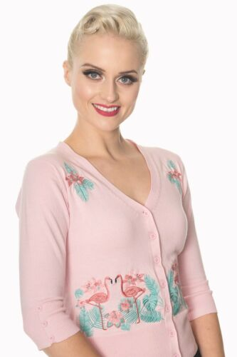 Pink Vintage Retro Rockabilly Pin Up Floral Flamingo Cardigan By Banned Apparel