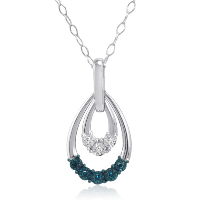 Blue and White Diamond Drop Pendant in .925 Sterling Silver