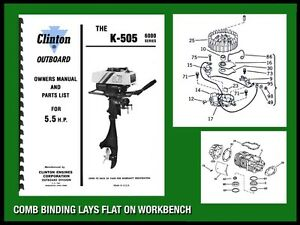 CLINTON K-550 5.5 H.P OUTBOARD MOTOR OWNERS MANUAL AND PARTS LIST ...