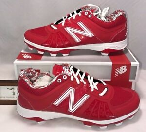 45d0cdc3edc8c New Balance Mens Size 12.5 Low Molded Baseball Cleats Red White | eBay