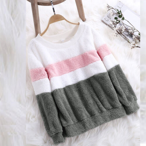 Womens Winter Color Matching Solid Patchwork O Neck Sweatshirt Casual Blouse New