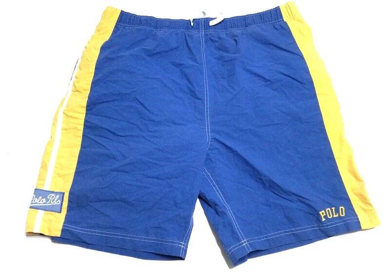 RALPH LAUREN Mens XL bluee Yellow 90S 2000S Logo Swim Trunks Board Shorts Surf g0