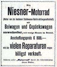 Niesner-Motorrad & Beiwagen  billigst zu verkaufen...Historische Annonce 1909