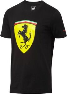 Details about puma mens tshirt ferrari big sheild t-shirt black 762139 02  new with tags men's