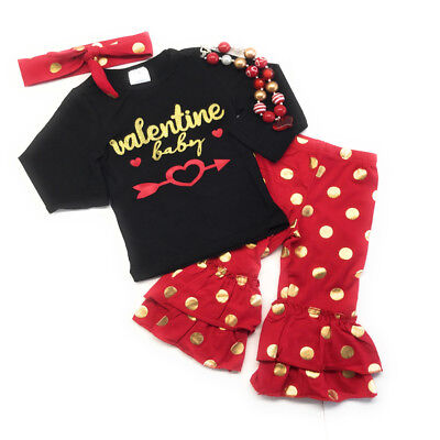 Valentine/'s Day Smooches Baby Toddler Girl Boutique Outfit Kids Clothing Infant