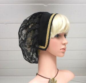 elegant und anmutig letzter Rabatt noch nicht vulgär Details zu s4 Mittelalter Kopfbedeckung Samt +Spitzenstoff Damen - Haube  schwarz gold