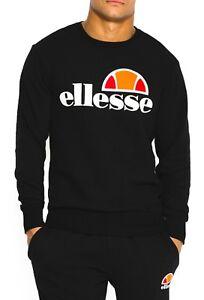 1223e232a7 Details about ellesse Mens Cotton Crew Neck Print Logo Sweatshirt  Anthracite Black Sweat Top
