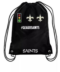 17d8a94e8b7 Image is loading NWT-NFL-New-Orleans-Saints-GEAUXSAINTS-Drawstring-Backpack-