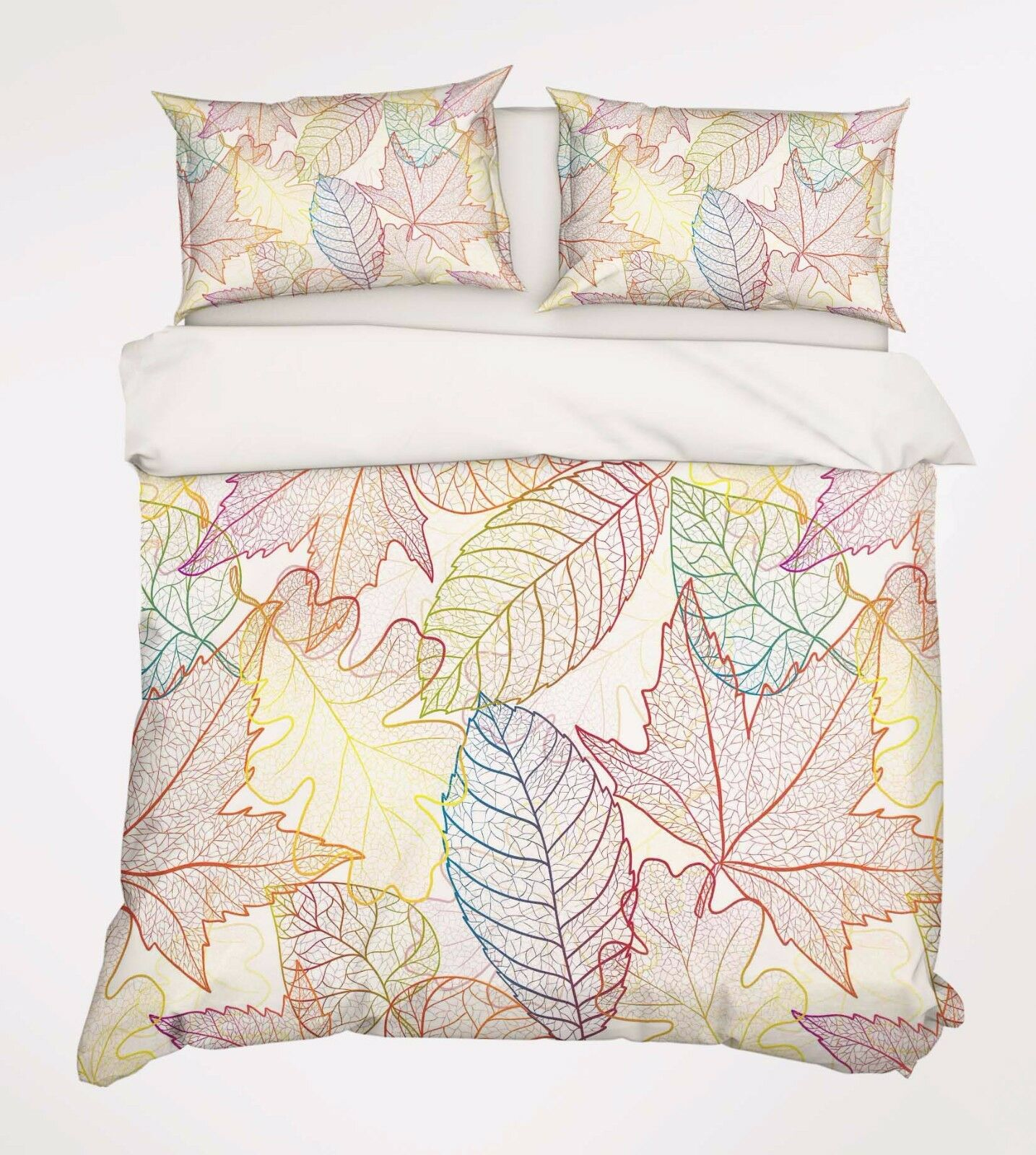 3D Leaf color 886 Bed Pillowcases Quilt Duvet Cover Set Single Queen UK Carly
