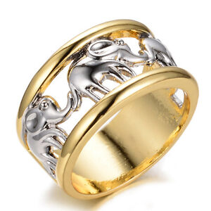 Silver-Lucky-Elephant-Wedding-Ring-10KT-Yellow-Gold-Filled-Wide-Band-Size-6-11