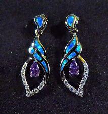 """Sterling 925 Silver SF Earrings Blue Lab Fire Opal & 5*3mm Amethyst & WT 1.25"""""""