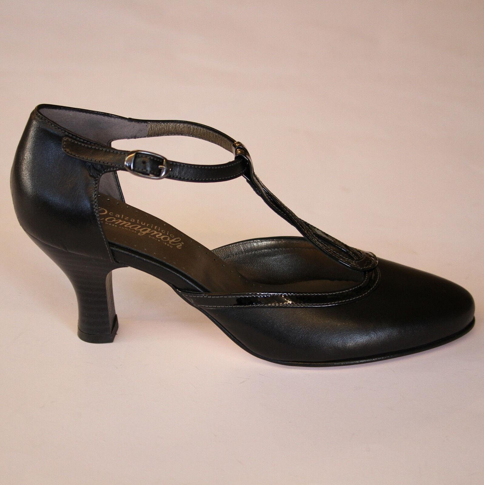 ROMAGNOLI scarpa aperta elegante DONNA ballo  pelle cuoio italiana nero 1589