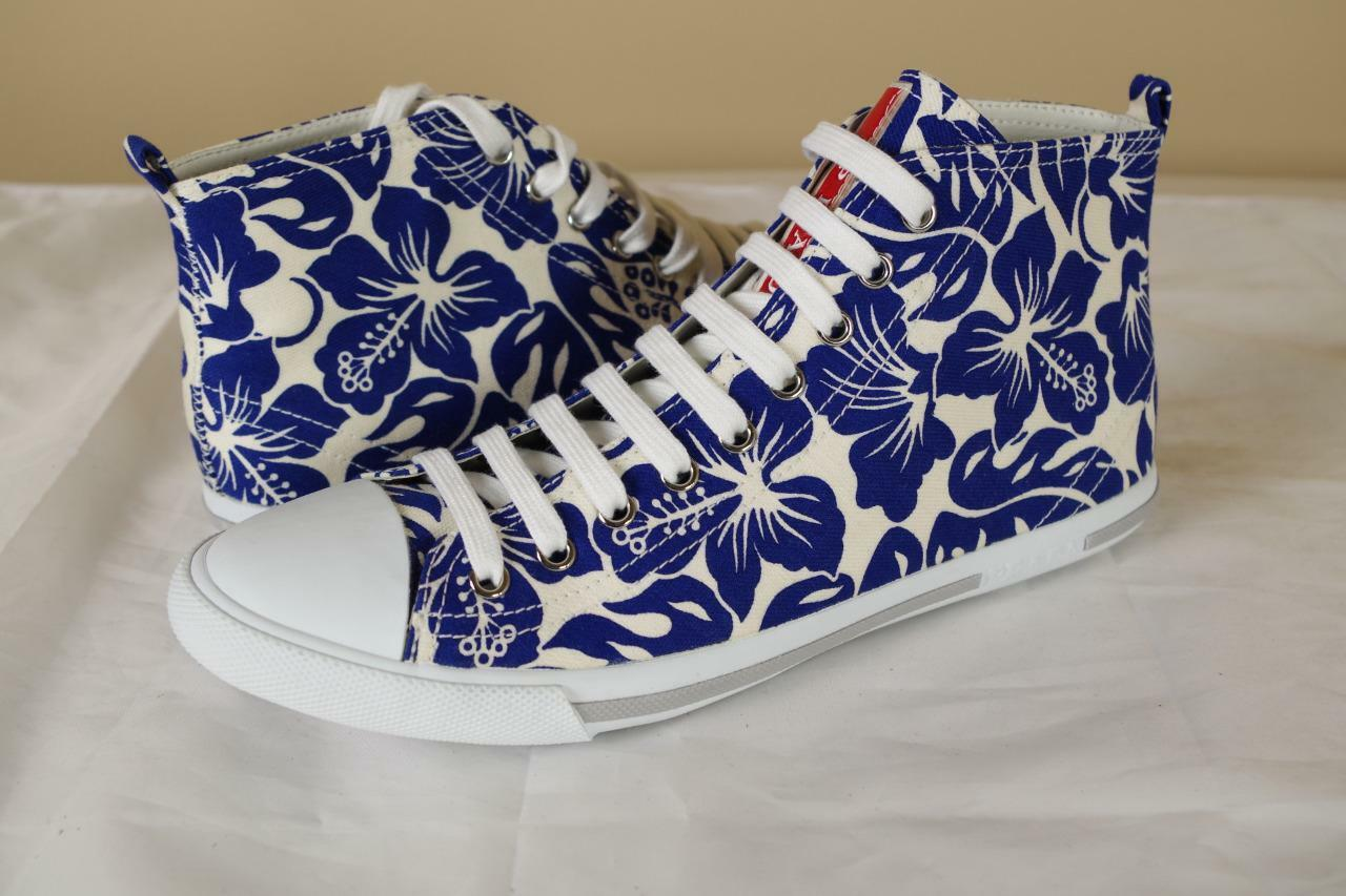 Prada White bluee Floral Hi Top Sneakers sz 39 9 New Trainer shoes Canvas Leather