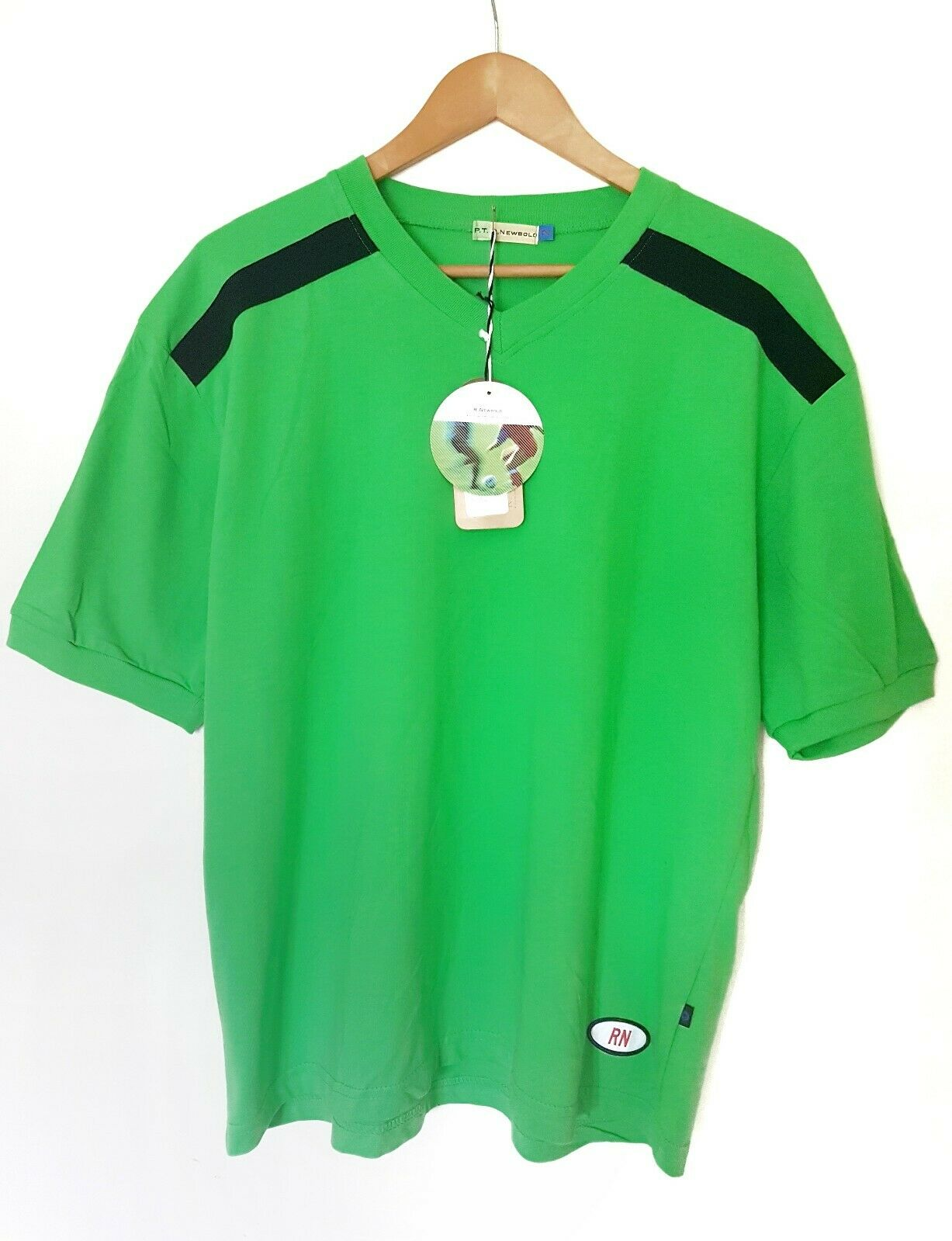 VINTAGE 90s R. Newbold P.T Paul Smith Smith Smith verde Nero A Righe Tasca T-SHIRT SPORT XL 6258c8