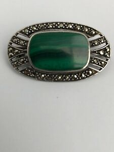 Vintage-Art-Deco-Malachite-Marcasite-925-Silver-Brooch