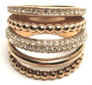 Swarovski® signed SWAN Logo Pave Crystal Copper Tone Spiral Ring Size 58