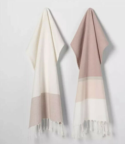 Details about  /2 pk Rose Gold Stripe Fringe Cotton Kitchen Towels Hearth /& Hand Magnolia NWT