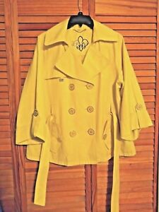 GUESS-WOMEN-S-TRENCH-COAT-LARGE-YELLOW-SLEEVES-LINED-BELTED-DOUBLE-BREASTED