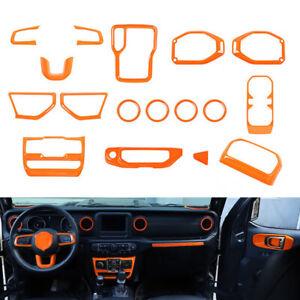 Interior Decoration Cover Trim Accessories kit For Jeep Wrangler JL 2018+ Orange