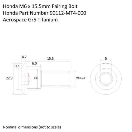 CBR900RR TITANIUM Fairing Bolt Screw 15.5mm Ti  Fireblade  90112-MT4-000 2x pack