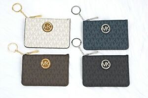 san francisco a53fa 0c8ba Details about Michael Kors FULTON jet set Coin Pouch Wallet Card ID Case  with Key Chain Holder
