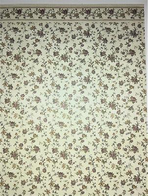 "Dollhouse Miniature MiniGraphics Wallpaper Floral Stripe /""Reflections Rose/"" 1:12"
