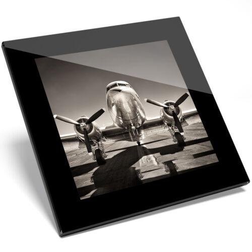 1 X Posavasos De Vidrio Vintage Chorro avión-estudiante de cocina regalo #15706