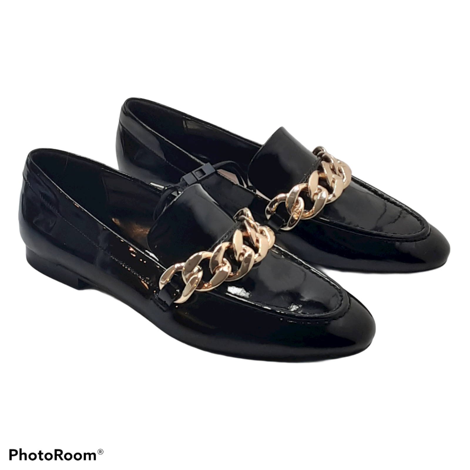 ZARA Black Patent Finished Chain Loafers Size 6 New