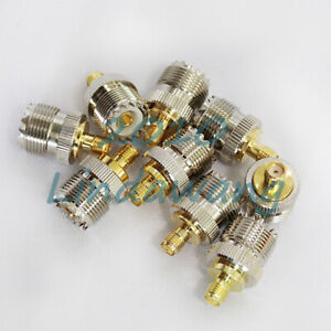 10x-UHF-Female-SO239-Jack-to-SMA-Female-RF-Coaxial-Adapter-Connector