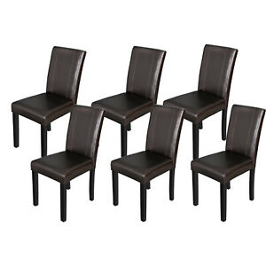 Swell Details About 6 Pieces Parson Dining Chair Brown Furniture Blend Leather Wood Construction Gamerscity Chair Design For Home Gamerscityorg