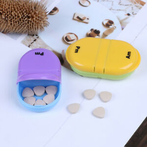 Pill-Box-Holder-Medicine-Storage-Container-Case-For-Travel-2-Grids-Seal-GF