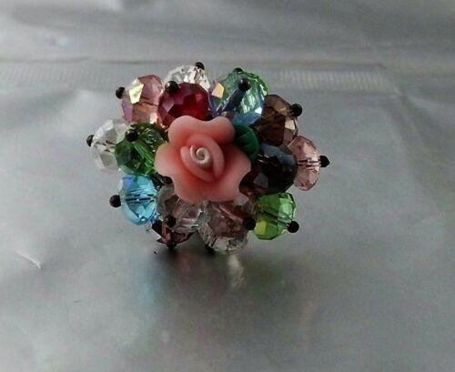 Glasperlen Ring mit Handmodelierter einzigartiger Rose Farbwahl verstellbar