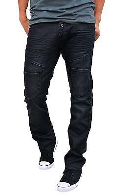 Etzo Jeans Mens Black Coated Straight Leg jeans Mens Premium Jeans