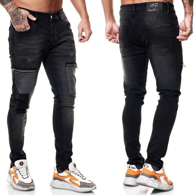Herren Jeans Cargohose Regular Skinny Fit Jeanshose Destroyed Stretch Mod 8036