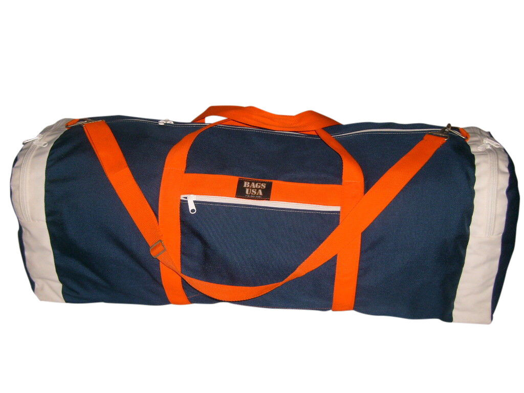 Duffle Bag,Ex L main compartment straight opening 2 end compartment Go BRONCOS