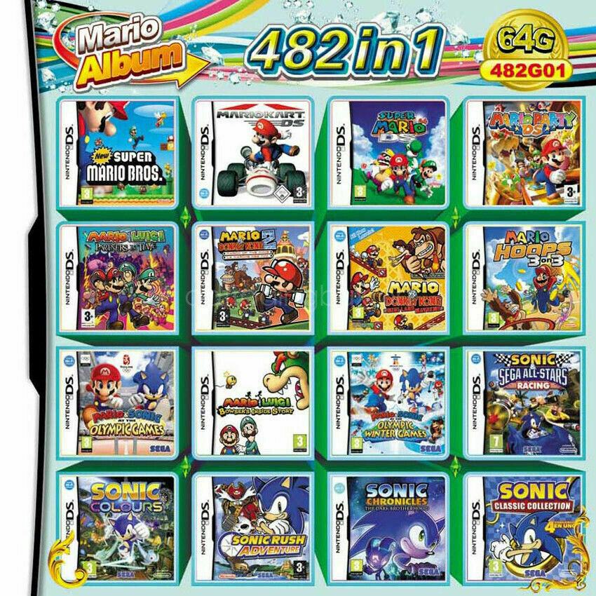 482 in 1 video game card cartridge