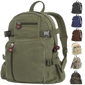 Image is loading Mini-Vintage-Canvas-Backpack-Military-Camo-Compact-School- bdcbd360cf3