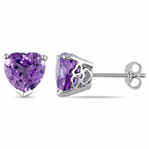 Amour Sterling Silver Heart-Cut Amethyst Solitaire Stud Earrings