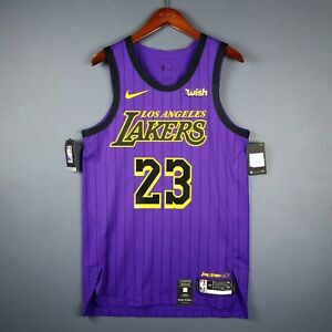 lowest price 656b3 35969 Details about 100% Authentic Lebron James Nike City Edition Lakers jersey  Size 44 M Mens